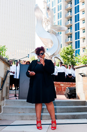 The Public Art Dedication of Sculpture Spiral Odyssey by Richard Hunt @ Romare Bearden Park 9-23-17 by Jon Strayhorn