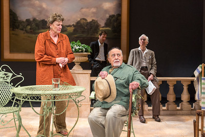 Jill Tanner, Julian Elfer, George Morfogen, and Philip Goodwin in A DAY BY THE SEA by N.C. Hunter. Photo: Richard Termine.