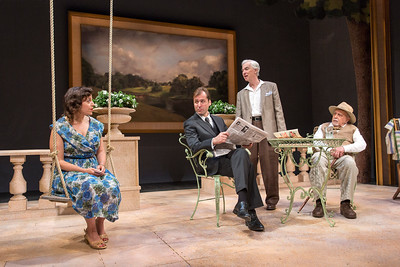 Katie Firth, Julian Elfer, Philip Goodwin, and George Morfogen in A DAY BY THE SEA by N.C. Hunter. Photo: Richard Termine.