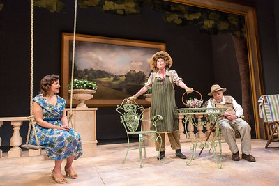 Katie Firth, Jill Tanner, and George Morfogen in A DAY BY THE SEA by N.C. Hunter. Photo: Richard Termine.