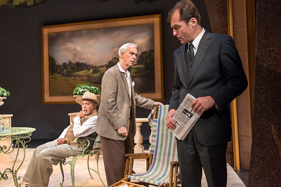 George Morfogen, Philip Goodwin, and Julian Elfer in A DAY BY THE SEA by N.C. Hunter. Photo: Richard Termine.