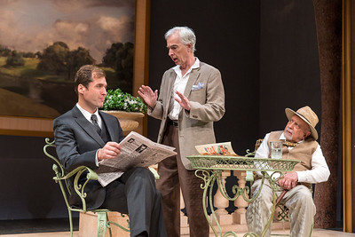 Julian Elfer, philip Goodwin, and George Morfogen in A DAY BY THE SEA by N.C. Hunter. Photo: Richard Termine.