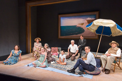 Katie Firth, Jill Tanner, Kylie McVey, Polly McKie, Athan Sporek, Philip Goodwin, Julian Elfer, Curzon Dobell, and George Morfogen in A DAY BY THE SEA by N.C. Hunter. Photo: Richard Termine.