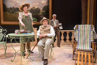 Jill Tanner, George Morfogen, and Philip Goodwin in A DAY BY THE SEA by N.C. Hunter. Photo: Richard Termine.