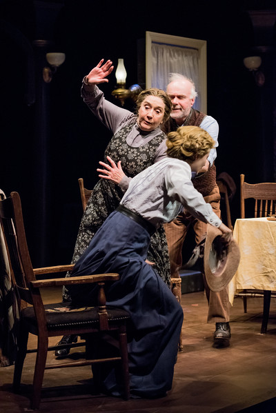 Ken Marks, Sandra Shipley and Rebecca Noelle Brinkley in HINDLE WAKES by Stanley Houghton, directed by Gus Kaikkonen. <br /> Photo by Todd Cerveris.