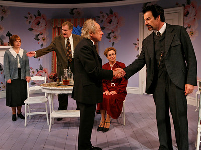 Margaret Daly, Paul O'Brien, Jeremy Lawrence, Bairbre Dowling and Kevin Kilner in IS LIFE WORTH LIVING? by Lennox Robinson  Photo: Richard Termine