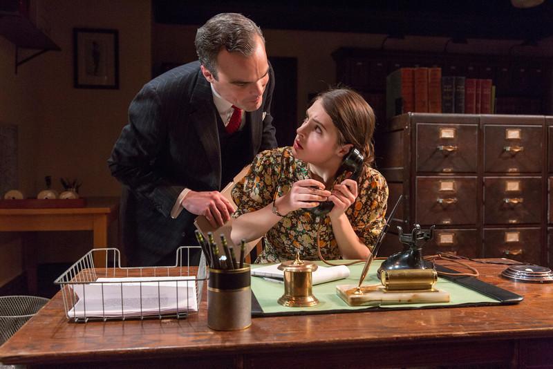 Stephen Plunkett and Elise Kibler in LONDON WALL by John Van Druten.  Photo: Richard Termine