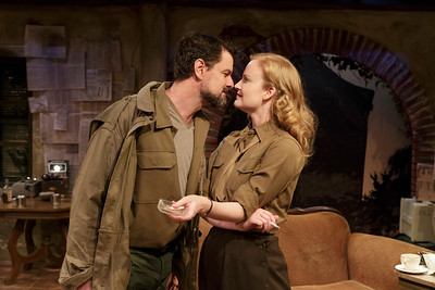 Rob Breckenridge and Heidi Armbruster in LOVE GOES TO PRESS by Martha Gellhorn and Virginia Cowles   Photo: Richard Termine