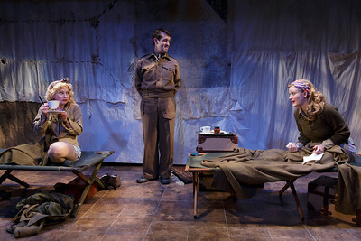 Angela Pierce, Ned Noyes and Heidi Armbruster in LOVE GOES TO PRESS by Martha Gellhorn and Virginia Cowles   Photo: Richard Termine
