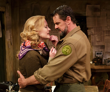 Heidi Armbruster and Rob Breckenridge in LOVE GOES TO PRESS by Martha Gellhorn and Virginia Cowles   Photo: Richard Termine