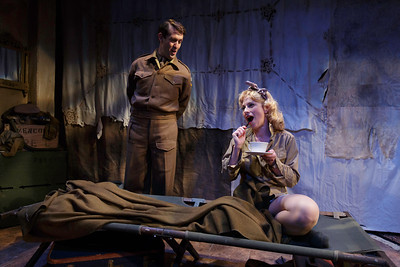 Ned Noyes and Angela Pierce in LOVE GOES TO PRESS by Martha Gellhorn and Virginia Cowles    Photo: Richard Termine