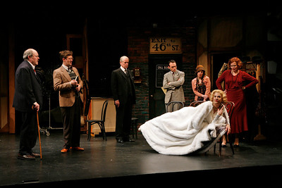 Brad Bellamy, Ned Noyes, John Windsor-Cunningham, Kevin O'Donnell, Anna Chlumsky, Catherine Curtin and Kristen Johnston in SO HELP ME GOD! by Maurine Dallas Watkins  Photo: Richard Termine