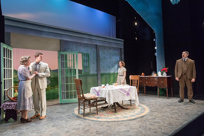 Cynthia Mace, A.J. Shively, Sarah Nicole Deaver, & Colin Ryan in IN THE CELLAR OF MY FRIEND  by Teresa Deevy. Directed by Jonathan Bank. Photo: Richard Termine.