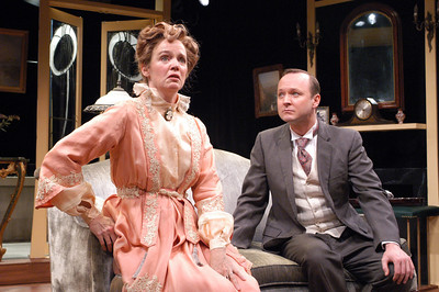 Kristin Griffith and Benjamin Howes in THE CHARITY THAT BEGAN AT HOME by St. John Hankin  Photo: Richard Termine