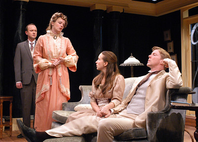 Benjamin Howes, Kristin Griffith, Harmony Schuttler and Karl Kenzler in THE CHARITY THAT BEGAN AT HOME by St. John Hankin  Photo: Richard Termine