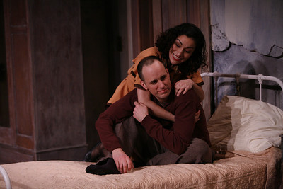 Kelly AuCoin and Nicole Shalhoub in THE FIFTH COLUMN by Ernest Hemingway   Photo: Richard Termine