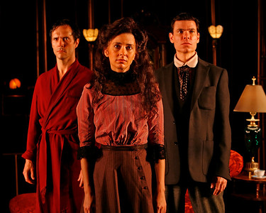 Saxon Palmer, Jeanine Serralles and Aaron Krohn in THE GLASS CAGE by J.B. Priestley  Photo: Richard Termine