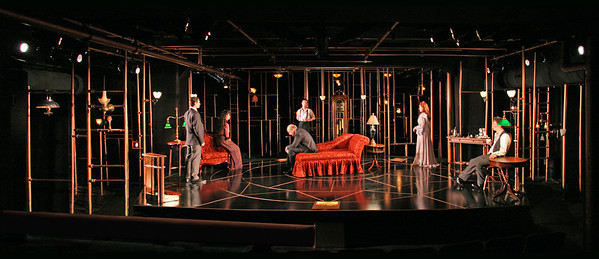 Aaron Krohn, Jeanine Serralles, Gerry Bamman, Saxon Palmer, Sandra Struthers-Clerc and Chad Hoeppner in THE GLASS CAGE by J.B. Priestley  Photo: Richard Termine