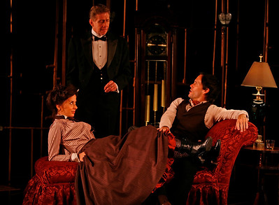 Jeanine Serralles, Jack Wetherall and Saxon Palmer in THE GLASS CAGE by J.B. Priestley  Photo: Richard Termine