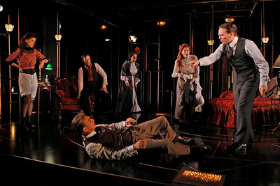 Jeanine Serralles, Saxon Palmer, Robin Moseley, Sandra Struthers-Clerc, Chad Hoeppner and Jack Wetherall (on floor) in THE GLASS CAGE by J.B. Priestley  Photo: Richard Termine