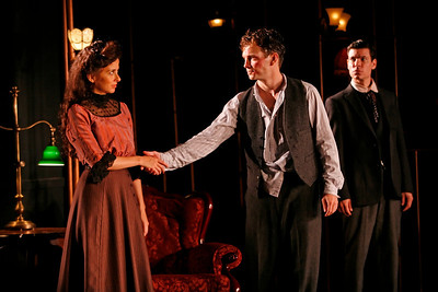 Jeanine Serralles, Chad Hoeppner and Aaron Krohn in THE GLASS CAGE by J.B. Priestley  Photo: Richard Termine