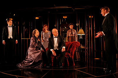 Chad Hoeppner, Robin Moseley, Sandra Struthers-Clerc, Gerry Bamman, Jeanine Serralles and Jack Wetherall in THE GLASS CAGE by J.B. Priestley  Photo: Richard Termine