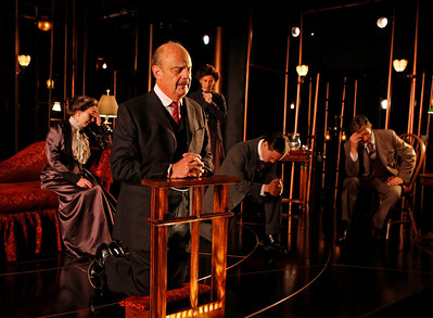 Robin Moseley, Gerry Bamman, Jeanine Serralles, Chad Hoeppner and Jack Wetherall in THE GLASS CAGE by J.B. Priestley  Photo: Richard Termine