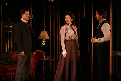 Aaron Krohn, Jeanine Serralles and Saxon Palmer in THE GLASS CAGE by J.B. Priestley  Photo: Richard Termine