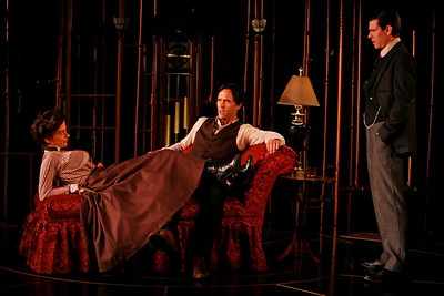 Jeanine Serralles, Saxon Palmer and Aaron Krohn in THE GLASS CAGE by J.B. Priestley  Photo: Richard Termine