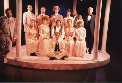 L to R, back row then front: Donald Warfield, Michael Stebbins, Bruce Barney, G.R. Johnson, Jennifer Chudy, Mike Hodge, Larry Swansen, Janice Muller, Kathleen Turco-Lyon, Claudi Traub, Lisa Bostnar, Sundy Leigh Leake and Gus Kaikkonen in THE HOUSE OF MIRTH by Edith Wharton and Clyde Fitch