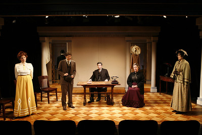 Mary Bacon, Kraig Swartz, Thomas M. Hammond, Laurie Kennedy and Angela Reed in THE MADRAS HOUSE by Harley Granville-Barker  Photo: Richard Termine