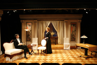 Thomas M. Hammond and Lisa Bostnar in THE MADRAS HOUSE by Harley Granville-Barker  Photo: Richard Termine