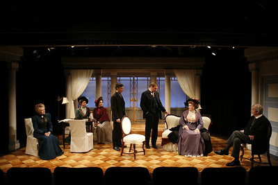 Roberta Maxwell, Allison McLemore, Pamela McVeagh, Thomas M. Hammond, Mark L. Montgomery, Laurie Kennedy and Jonathan Hogan in THE MADRAS HOUSE by Harley Granville-Barker  Photo: Richard Termine