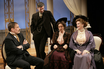 Mark L. Montgomery, Thomas M. Hammond, Lisa Bostnar and Laurie Kennedy in THE MADRAS HOUSE by Harley Granville-Barker  Photo: Richard Termine