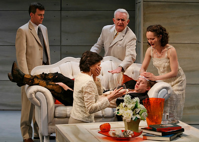 Bradford Cover, Richard Kline, Leah Curney, Roderick Hill (on couch) and Tandy Cronyn (in front) in THE RETURN OF THE PRODIGAL by St. John Hankin  Photo: Richard Termine