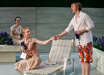 Leah Curney, Margot White and Roderick Hill in THE RETURN OF THE PRODIGAL by St. John Hankin  Photo: Richard Termine