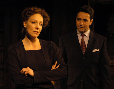 Lisa Bostnar and Stephen Schnetzer in THE TRUTH ABOUT BLAYDS by A.A. Milne  Photo: Richard Termine