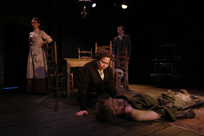 Julia Coffey, Nick Cordileone (in back), Randy Danson and Eric Martin Brown (on floor) in THE WIDOWING OF MRS. HOLROYD by D.H. Lawrence  Photo: Richard Termine
