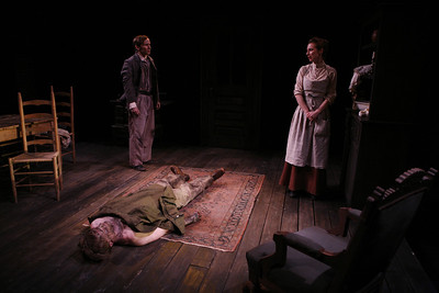 Nick Cordileone, Eric Martin Brown (on floor) and Julia Coffey in THE WIDOWING OF MRS. HOLROYD by D.H. Lawrence  Photo: Richard Termine