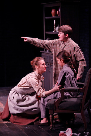 Julia Coffey, Dalton Harrod and Emma Kantor in THE WIDOWING OF MRS. HOLROYD by D.H. Lawrence  Photo: Richard Termine