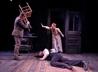 Nick Cordileone, Julia Coffey, and Eric Martin Brown (on floor) in THE WIDOWING OF MRS. HOLROYD by D.H. Lawrence  Photo: Richard Termine