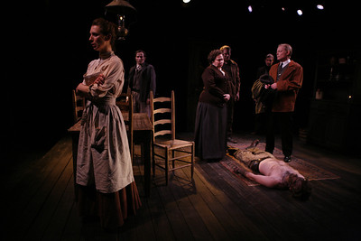 Julia Coffey, Nick Cordileone, Randy Danson, Arthur Lazalde, James Warke, Allyn Burrows and Eric Martin Brown (on floor) in THE WIDOWING OF MRS. HOLROYD by D.H. Lawrence  Photo: Richard Termine