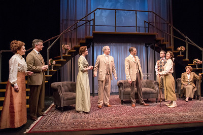 Deanne Lorette, Michael Frederic, Paton Ashbrook, Wynn Harmon, Robert David Grant, Andrew Fallaize, Mia Hutchinson-Shaw, and Cynthia Harris in THE LUCKY ONE by A.A. Milne. Directed by Jesse Marchese. Photo: Richard Termine.