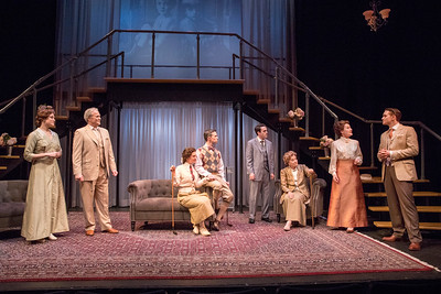 Paton Ashbrook, Wynn Harmon, Mia Hutchinson-Shaw, Andrew Fallaize, Ari Brand, Cynthia Harris, Deanne Lorette, and Robert David Grant in THE LUCKY ONE by A.A. Milne. Directed by Jesse Marchese. Photo: Richard Termine.