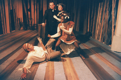 Thomas Gilpin, Karen Lynn Gorney, Tom Gray (on floor) and Renee Alberta in UNCLE TOM'S CABIN by George Aiken.
