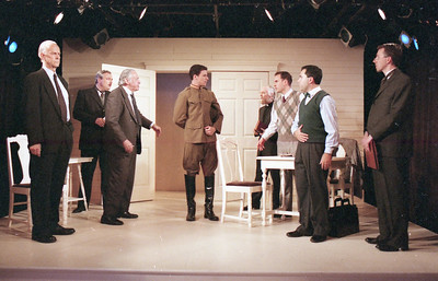 Lee Moore, David Winton, Ward Asquith, Micheal LiDondici, T.D. White, Haakon Jepson, Patrick Riviere and Jonathan Tindle in WELCOME TO OUR CITY by Thomas Wolfe  Photo: Richard Termine
