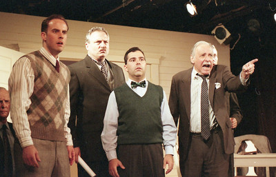 Lee Moore (partial), Haakon Jepsen, David Winton, Patrick Riviere, Ward Asquith and Jonathan Tindle (partial) in WELCOME TO OUR CITY by Thomas Wolfe Photo: Richard Termine