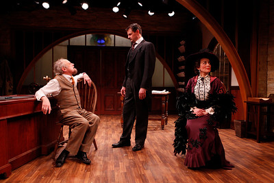 Jeremy Lawrence, Rob Breckenridge and Birgit Huppuch in WHAT THE PUBLIC WANTS by Arnold Bennett  Photo: Richard Termine