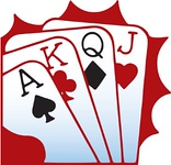 cartoon picture of four playing cards Ace, King, Queen, Jack