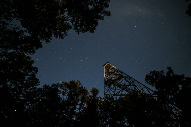 Hickory ridge fire tower (Bloomington, IN) at night
